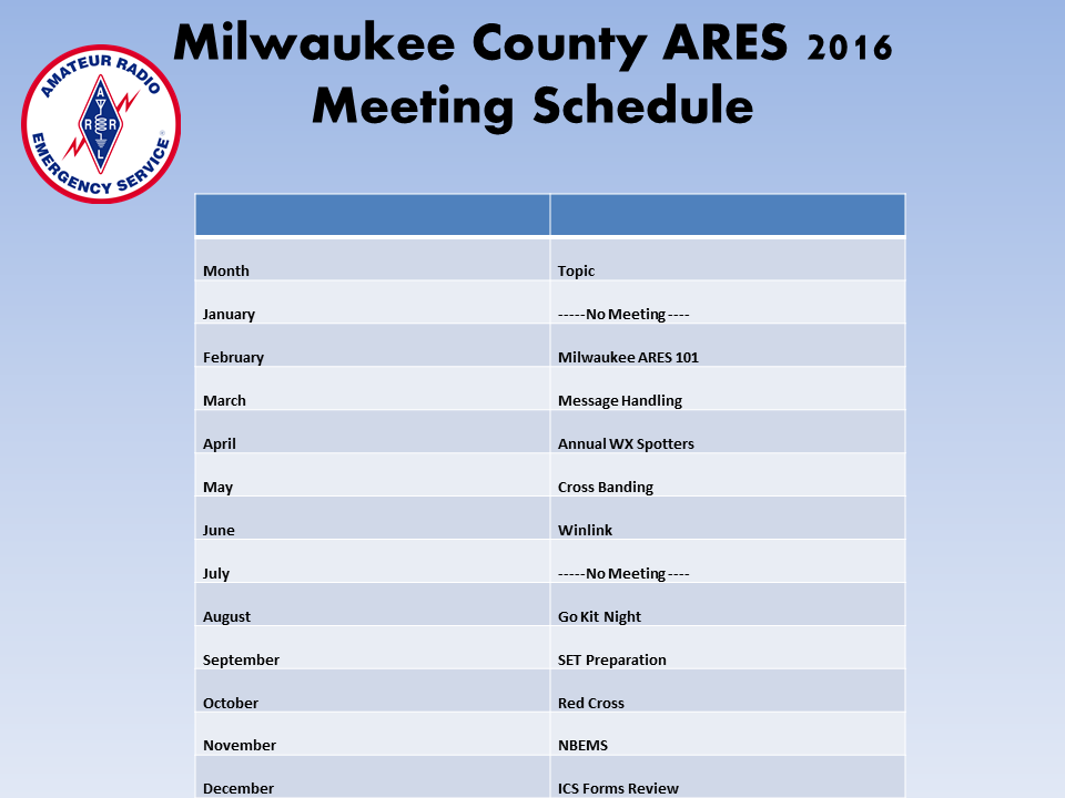 Milwaukee County ARES 2016 Meeting Schedule